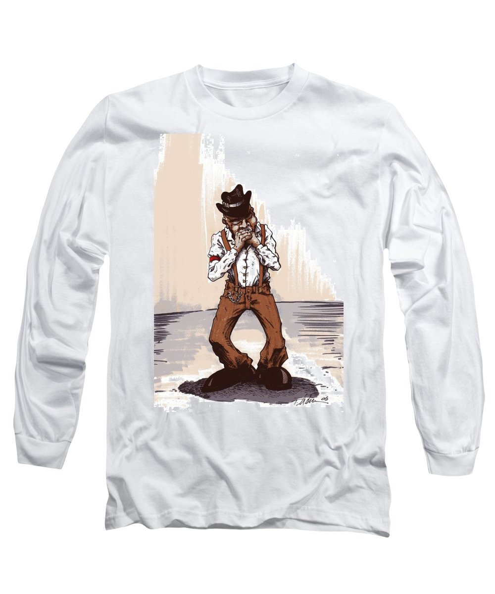 Blues Long Sleeve T-Shirt featuring the drawing Harmonica by Tobey Anderson