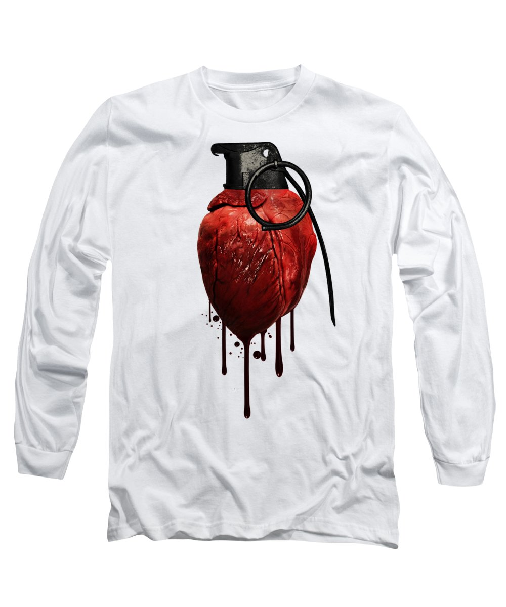 Heart Long Sleeve T-Shirt featuring the mixed media Heart Grenade by Nicklas Gustafsson