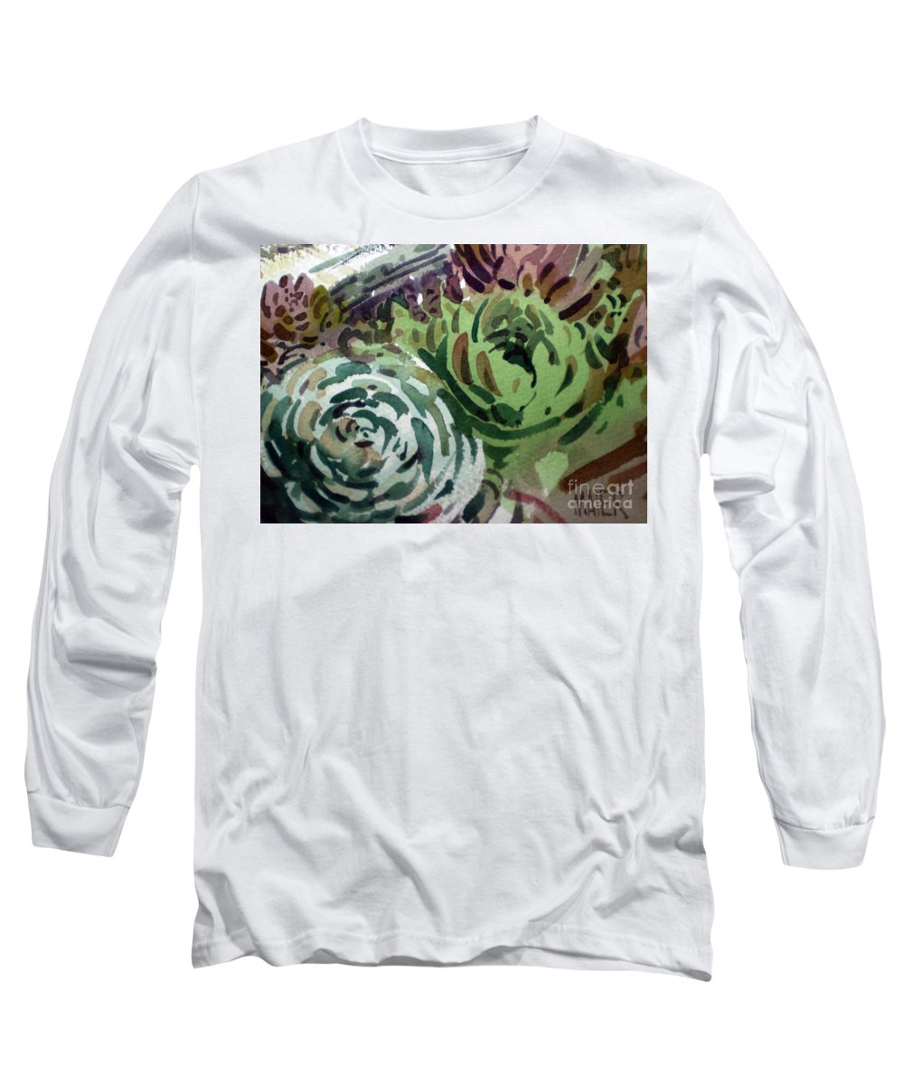 Succulent Plants Long Sleeve T-Shirt featuring the painting Hen And Chicks by Donald Maier