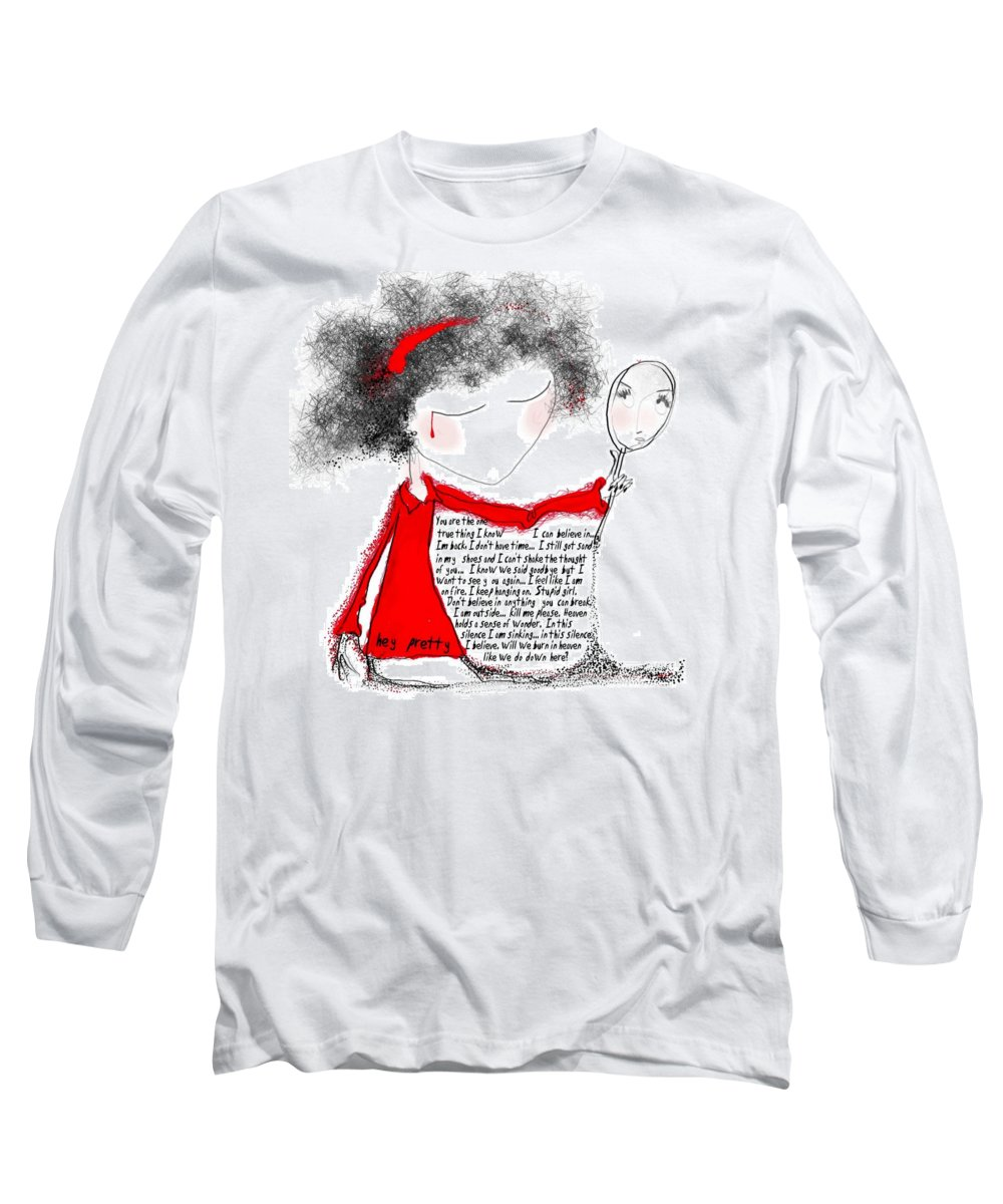 Pretty Woman Crying Tears Red Words Mirror Girls Long Sleeve T-Shirt featuring the digital art Hey Pretty by Veronica Jackson