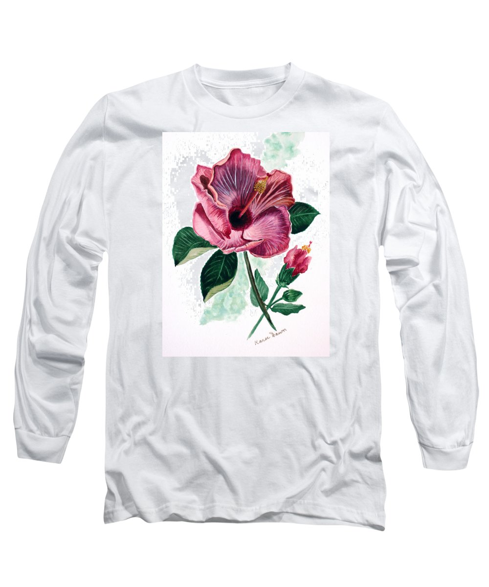 Flora Painting L Hibiscus Painting Pink Flower Painting Greeting Card Painting Long Sleeve T-Shirt featuring the painting Hibiscus Dusky Rose by Karin Dawn Kelshall- Best