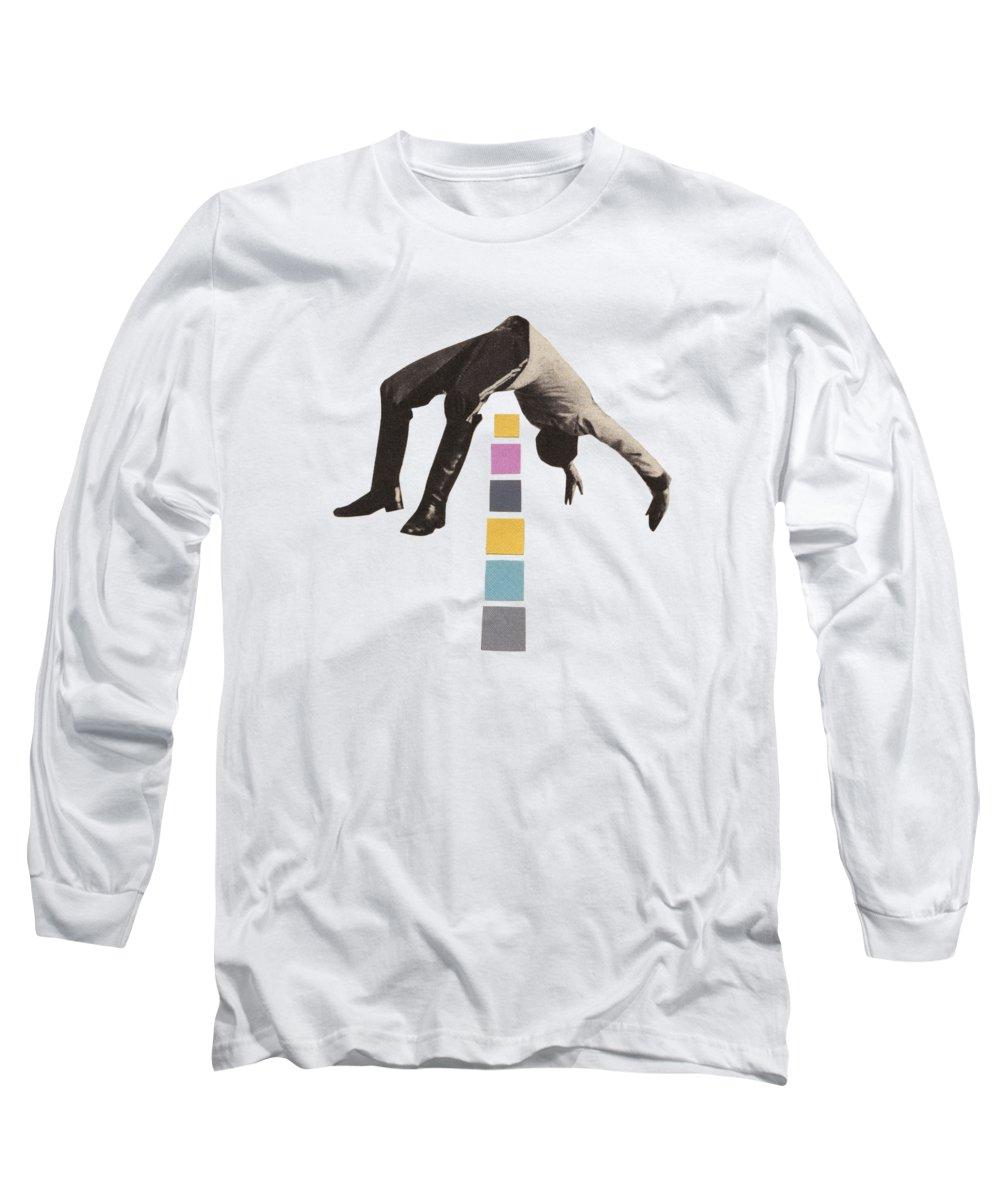 Art Long Sleeve T-Shirt featuring the mixed media High Jump by Cassia Beck