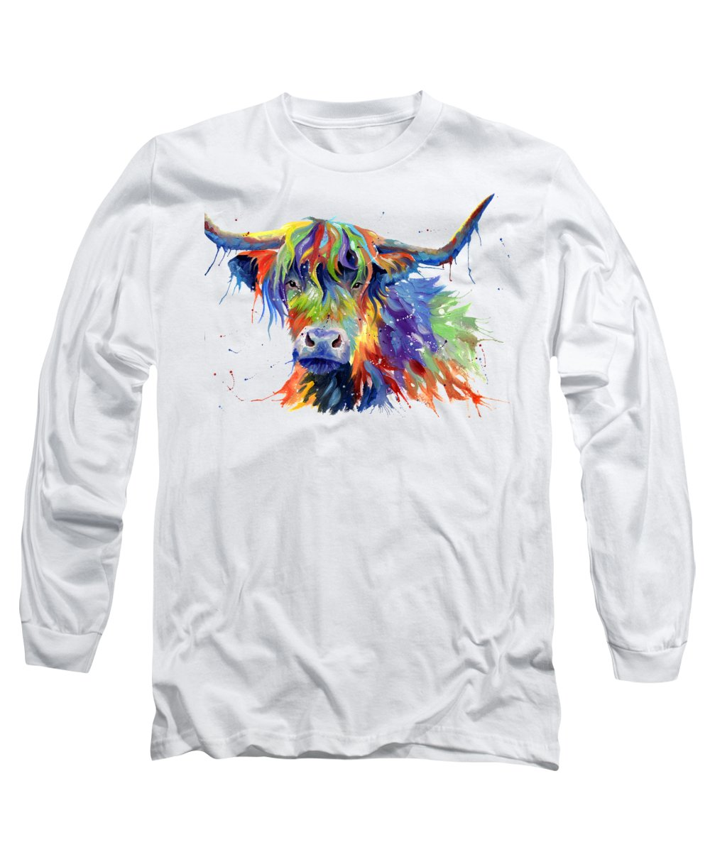 Cow Long Sleeve T-Shirt featuring the painting Highland Cow In Multicolor by Sarah Stribbling