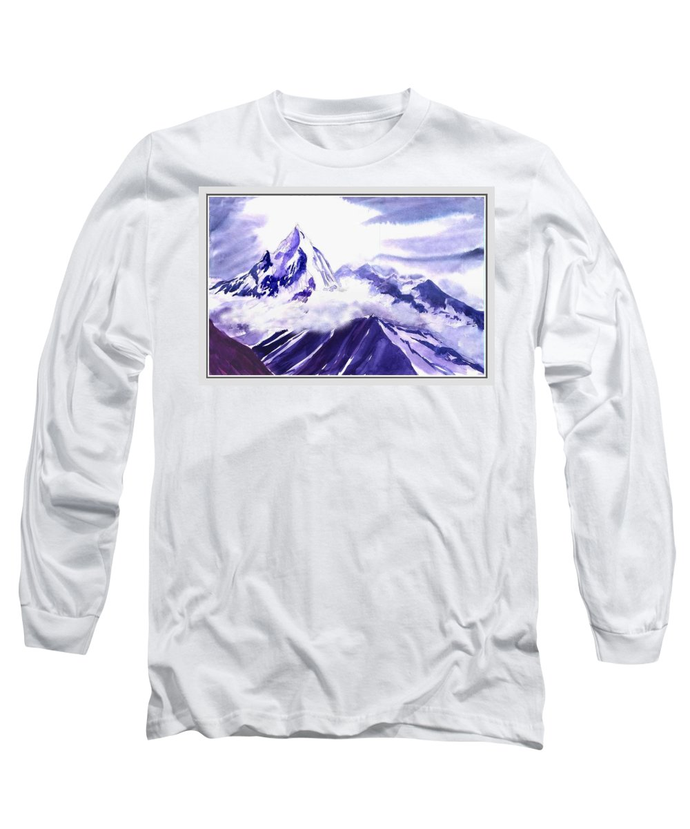 Landscape Long Sleeve T-Shirt featuring the painting Himalaya by Anil Nene