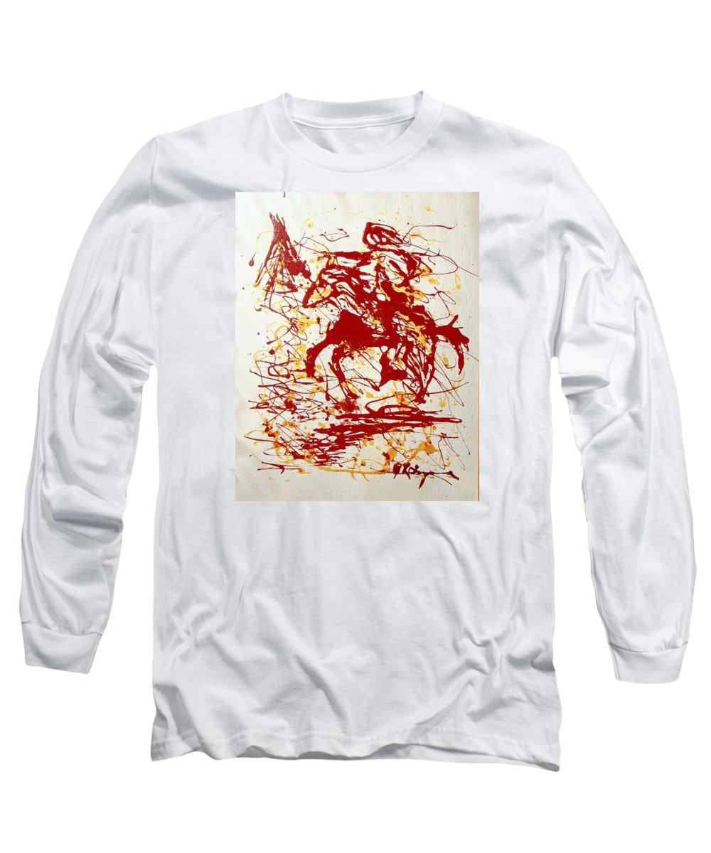 Indian Long Sleeve T-Shirt featuring the painting History In Blood by J R Seymour