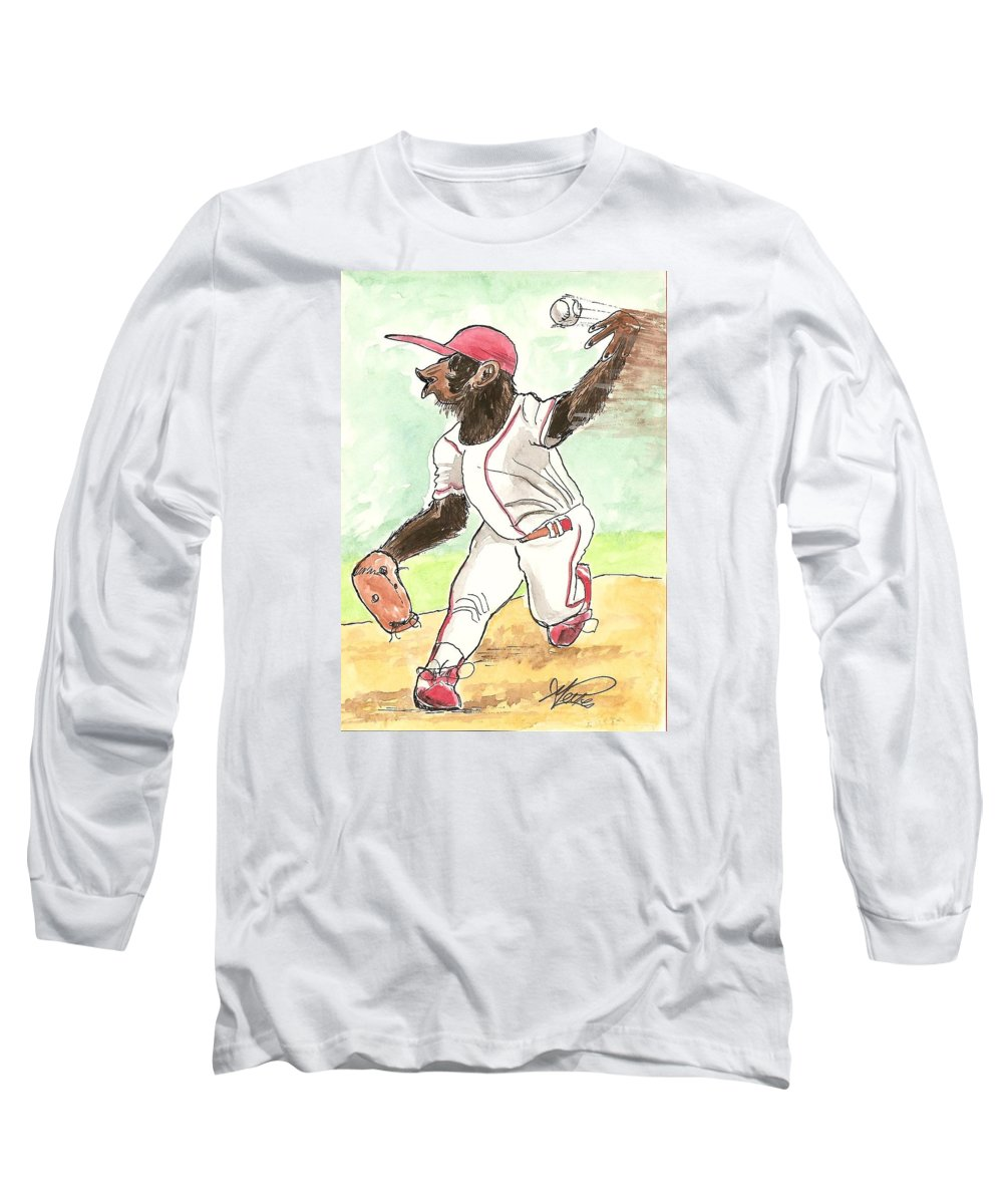 Baseball Long Sleeve T-Shirt featuring the drawing Hit This by George I Perez