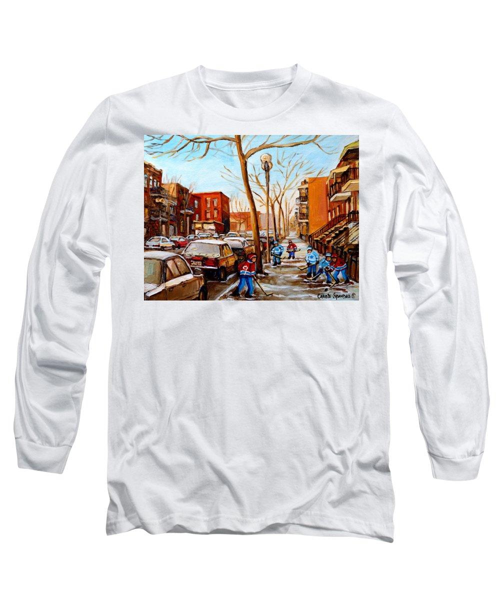 Hockey Long Sleeve T-Shirt featuring the painting Hockey On St Urbain Street by Carole Spandau