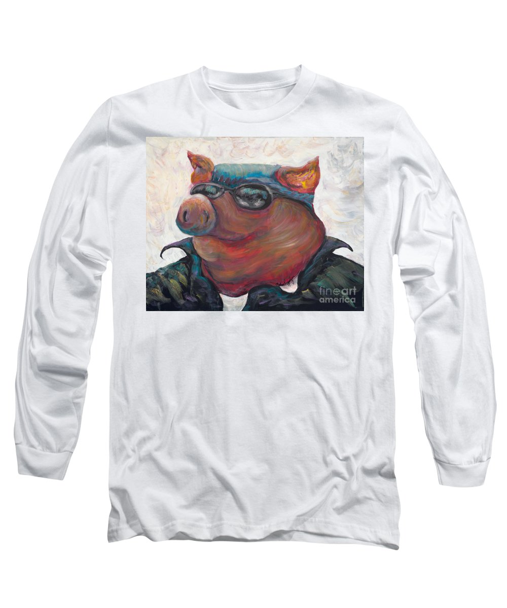 Hog Long Sleeve T-Shirt featuring the painting Hogley Davidson by Nadine Rippelmeyer