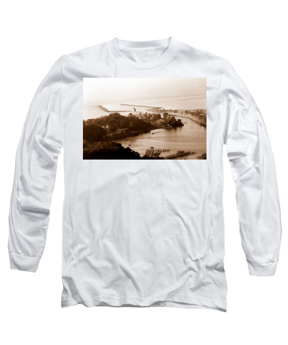 Holland Long Sleeve T-Shirt featuring the photograph Holland Michigan Harbor Big Red Aerial Photo by Michelle Calkins