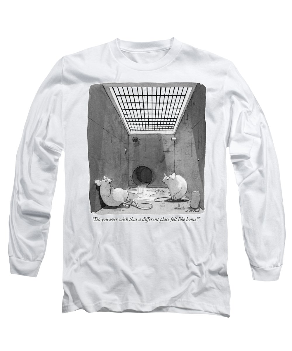 """""""do You Ever Wish That A Different Place Felt Like Home?"""" Long Sleeve T-Shirt featuring the drawing Home by Will McPhail"""