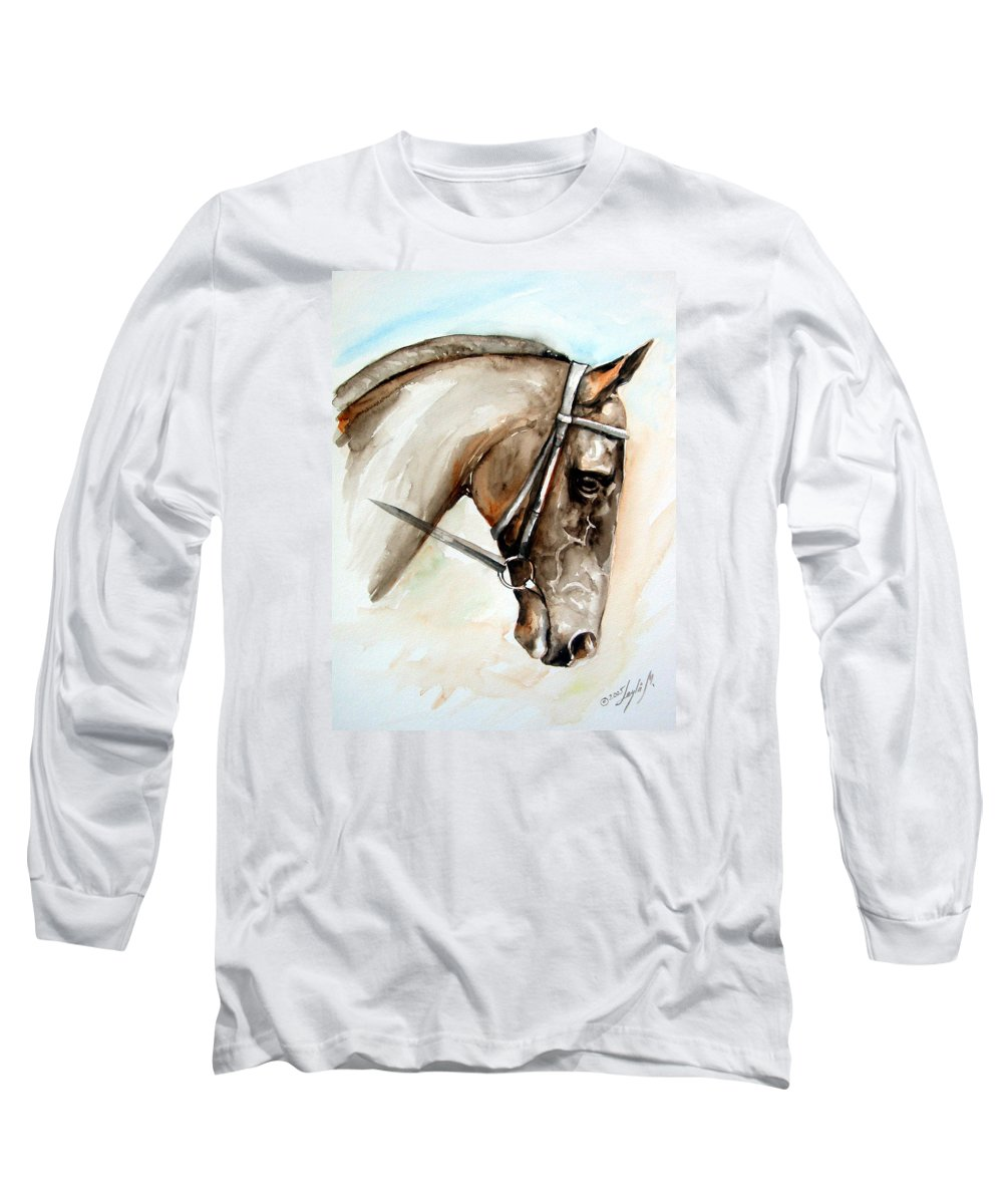 Horse Long Sleeve T-Shirt featuring the painting Horse Head by Leyla Munteanu
