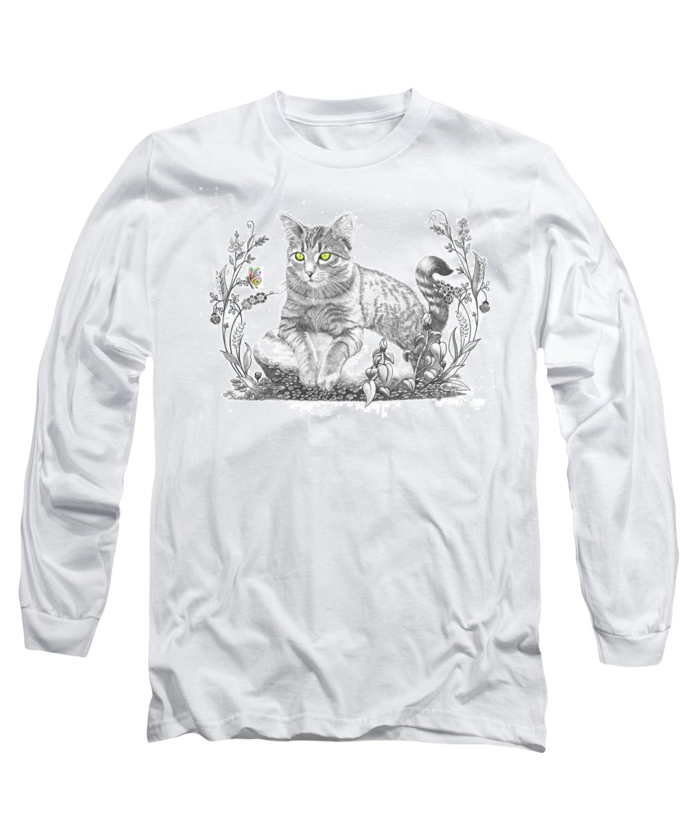 Cat Long Sleeve T-Shirt featuring the drawing House Cat by Murphy Elliott