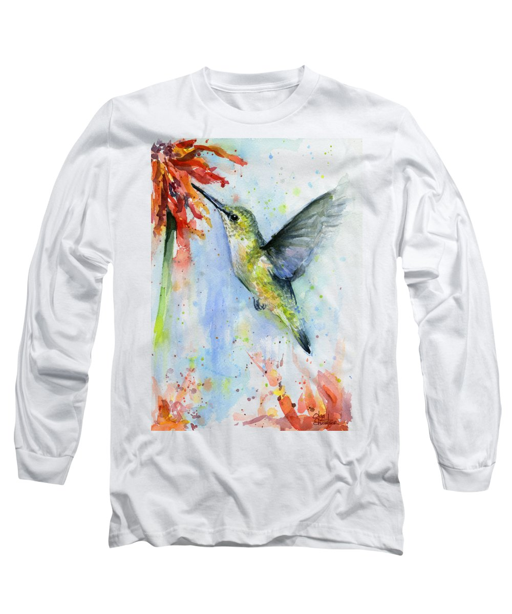 Watercolor Long Sleeve T-Shirt featuring the painting Hummingbird And Red Flower Watercolor by Olga Shvartsur