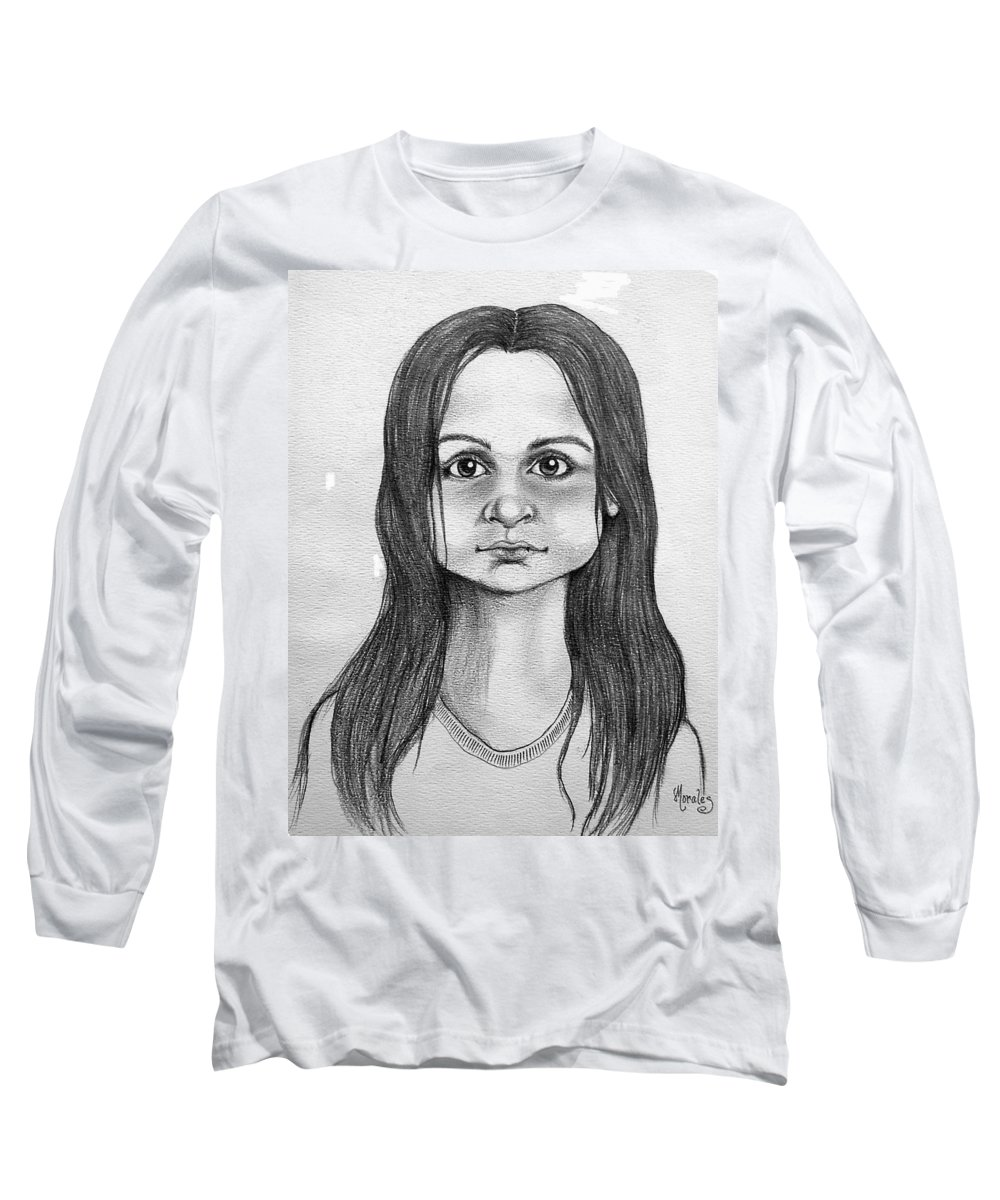 Portrait Long Sleeve T-Shirt featuring the drawing Immigrant Girl by Marco Morales