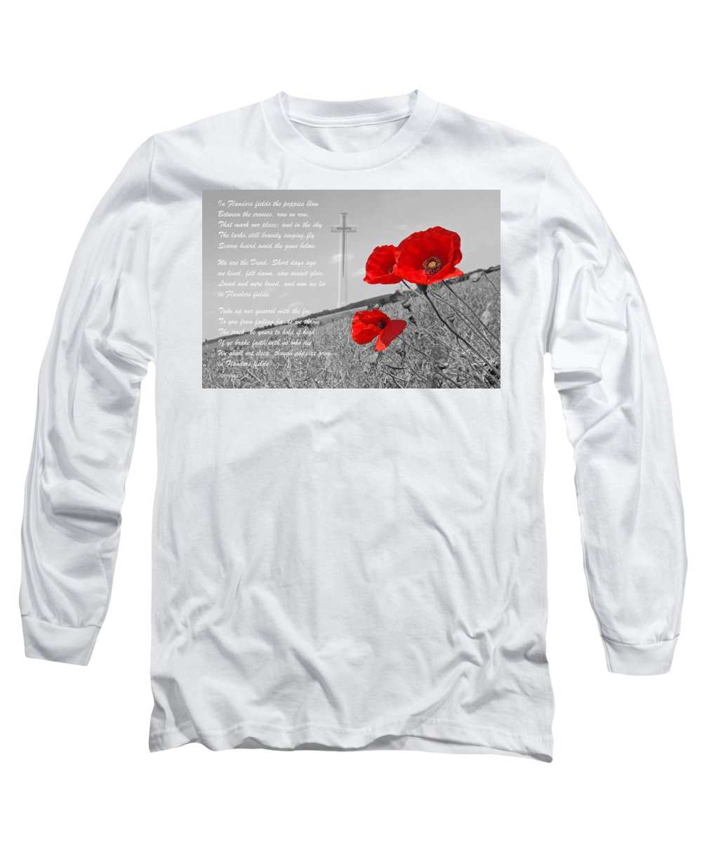Poppy Long Sleeve T-Shirt featuring the photograph In Flanders Fields by Gill Billington