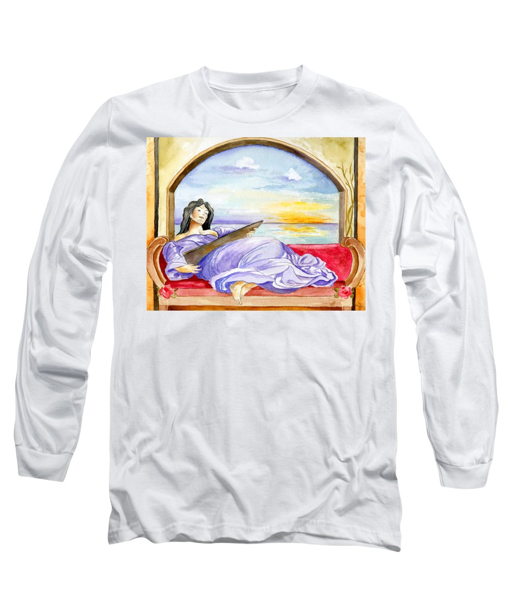 Landscape Woman Romantic Figure Window Sea Sky Long Sleeve T-Shirt featuring the painting In Paradisum by Brenda Owen