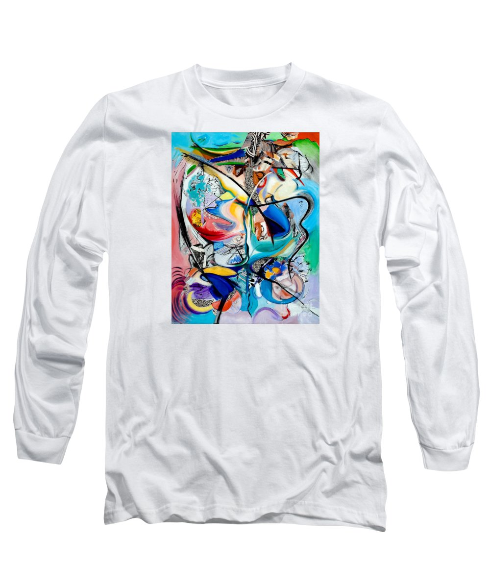 Abstract Long Sleeve T-Shirt featuring the painting Intimate Glimpses - Journey Of Life by Kerryn Madsen-Pietsch