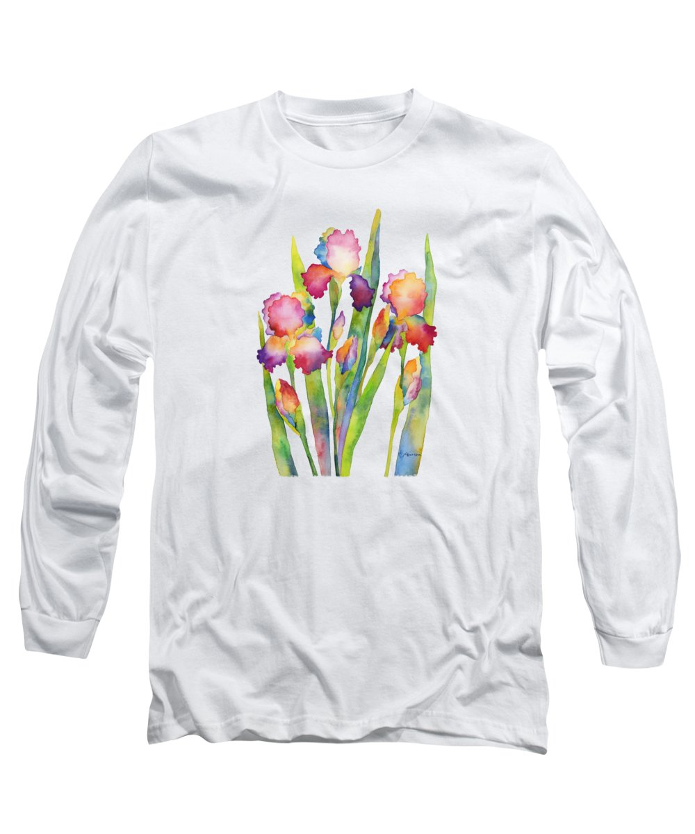Iris Long Sleeve T-Shirt featuring the painting Iris Elegance by Hailey E Herrera