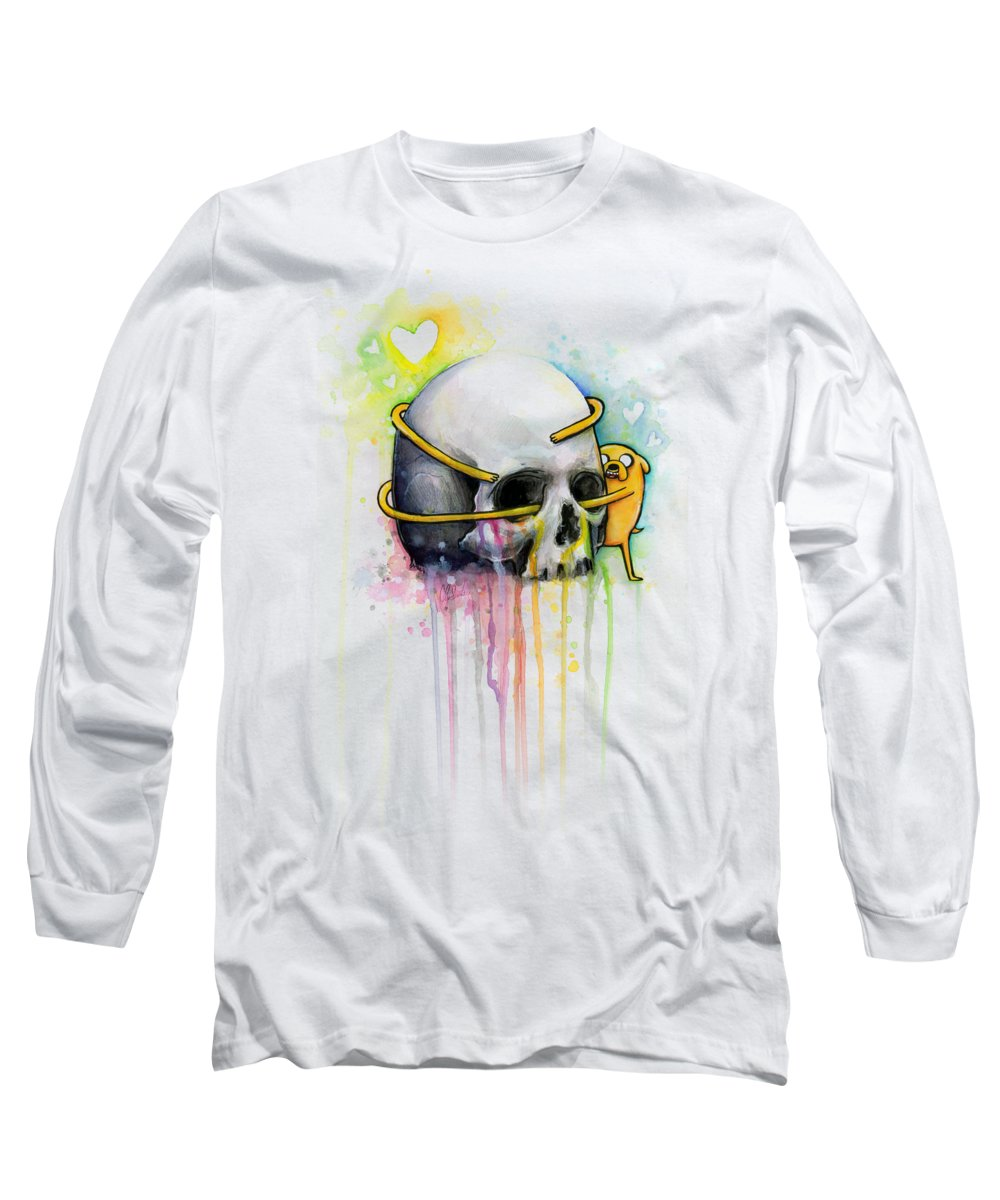 Adventure Time Long Sleeve T-Shirt featuring the painting Jake The Dog Hugging Skull Adventure Time Art by Olga Shvartsur