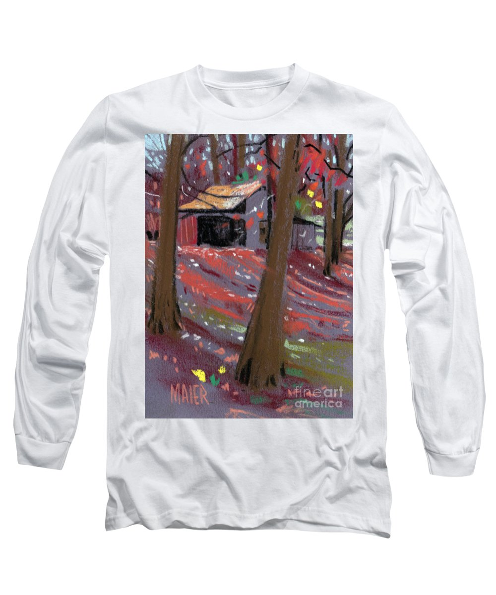 Barns Long Sleeve T-Shirt featuring the drawing James's Barns 3 by Donald Maier