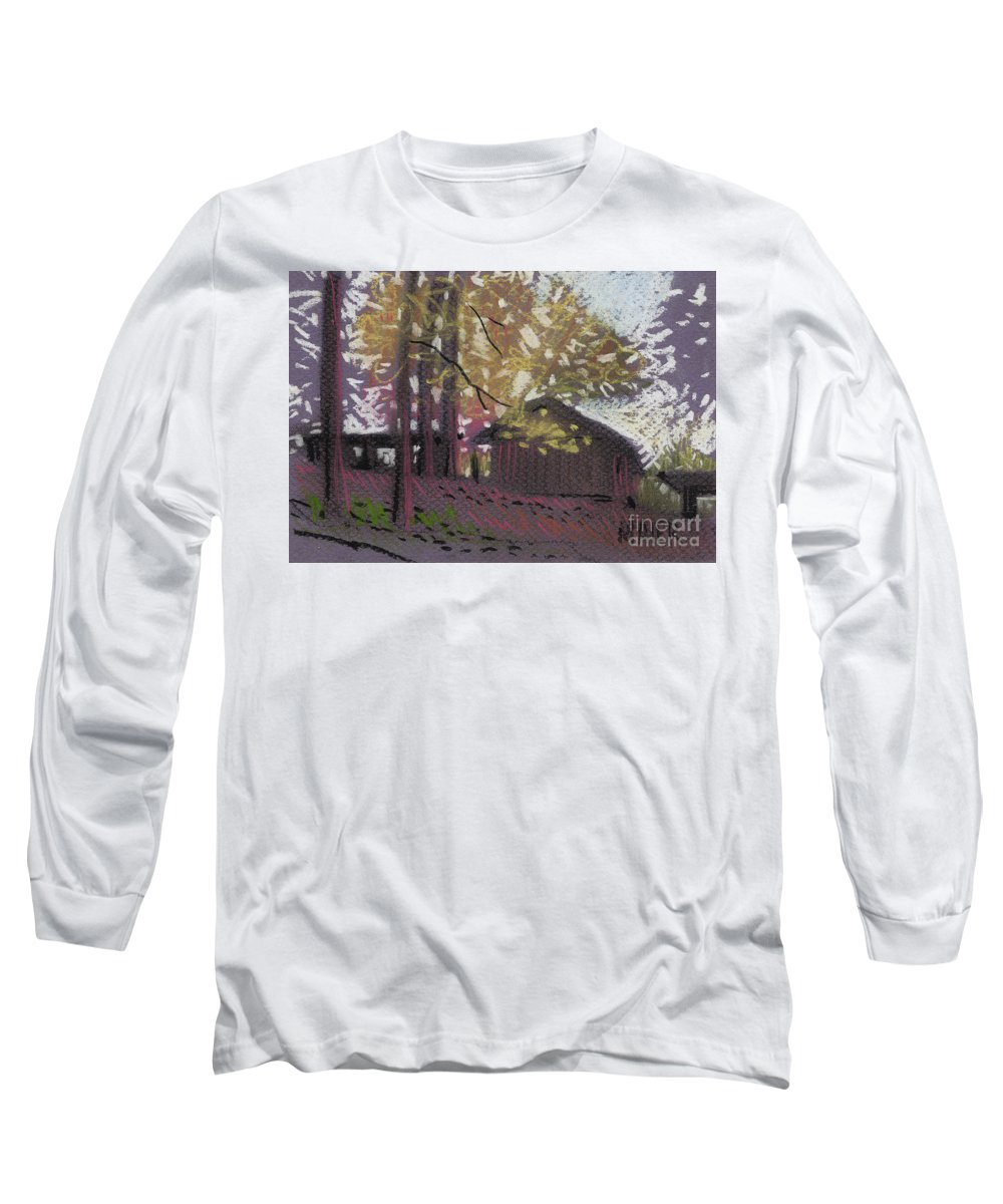 Pastel Long Sleeve T-Shirt featuring the drawing James's Barns 9 by Donald Maier