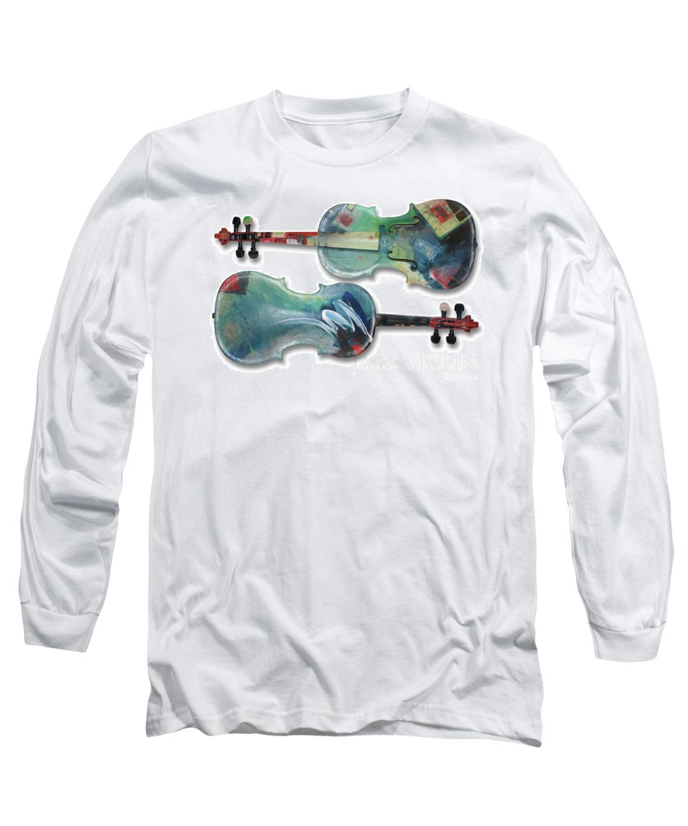 Violin Long Sleeve T-Shirt featuring the painting Jazz Violin - Poster by Tim Nyberg