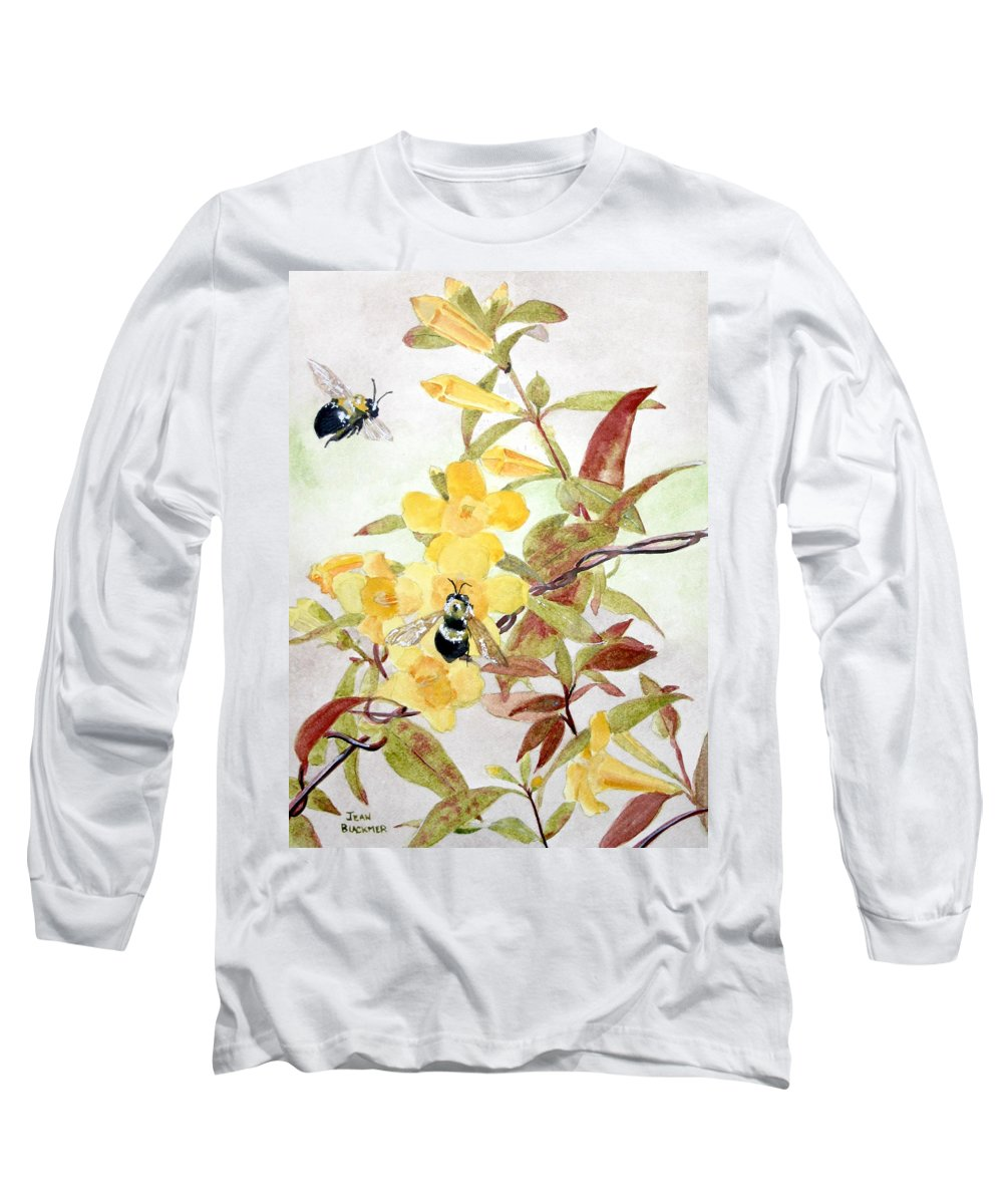 Jasmine Long Sleeve T-Shirt featuring the painting Jessamine Bee Mine by Jean Blackmer