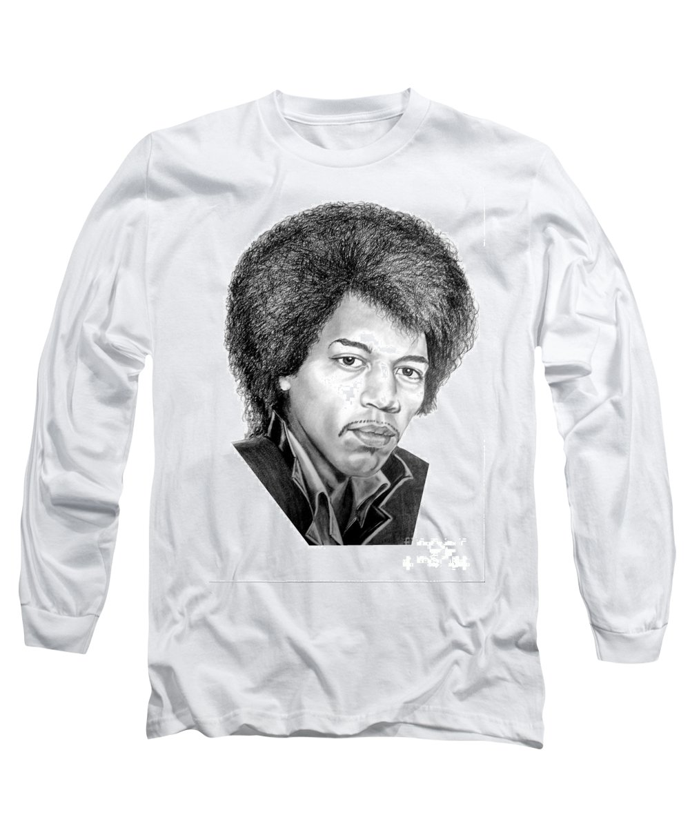 Jimmi Hendrix Long Sleeve T-Shirt featuring the drawing Jimmi Hendrix By Murphy Art. Elliott by Murphy Elliott