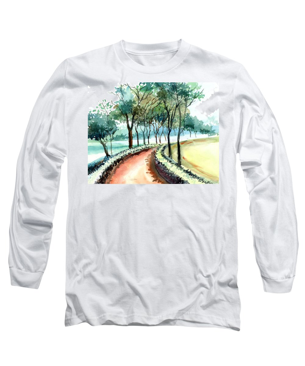 Landscape Long Sleeve T-Shirt featuring the painting Jogging Track by Anil Nene