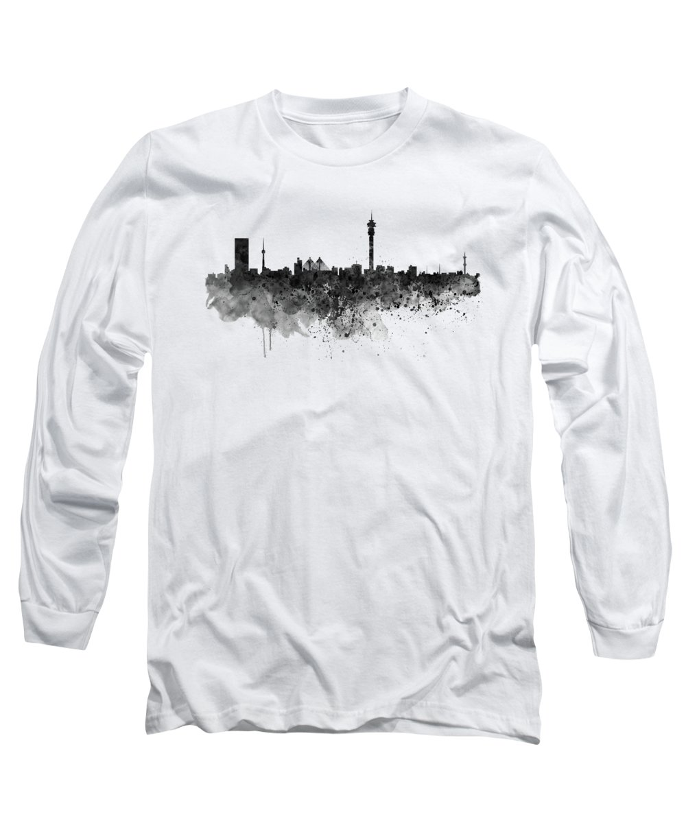 Johannesburg Long Sleeve T-Shirt featuring the painting Johannesburg Black And White Skyline by Marian Voicu