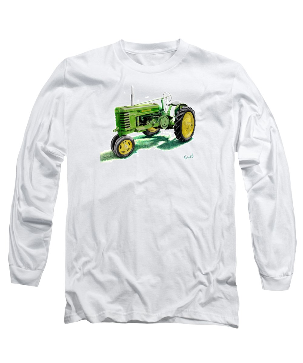 John Deere Tractor Long Sleeve T-Shirt featuring the painting John Deere Tractor by Ferrel Cordle