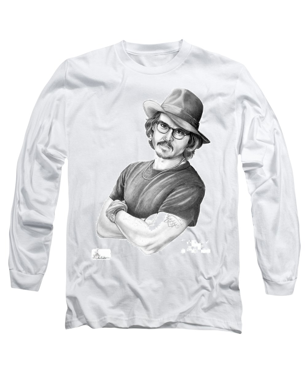 Johnny Depp Long Sleeve T-Shirt featuring the drawing Johnny Depp by Murphy Elliott