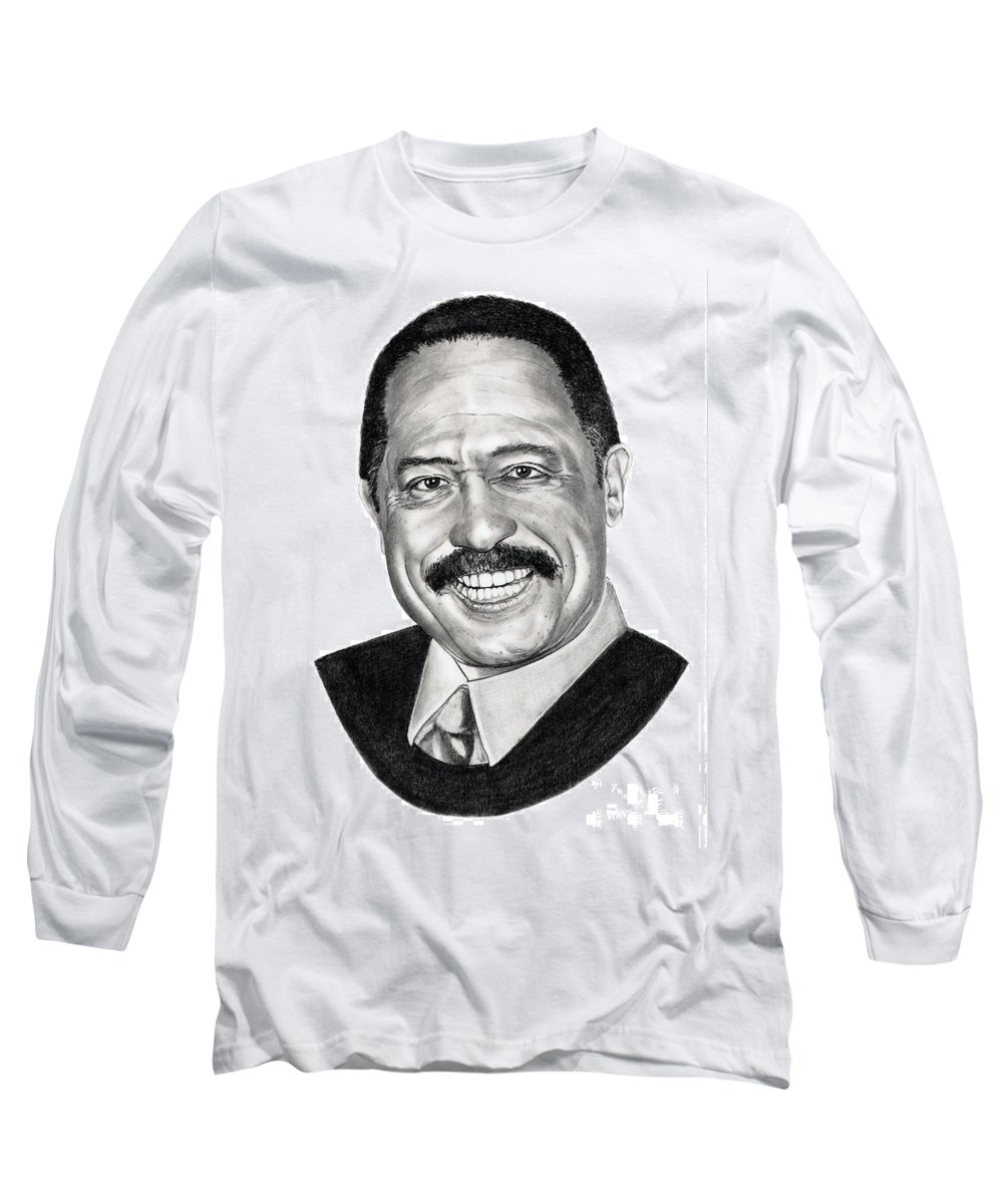 Judge Joe Brown Long Sleeve T-Shirt featuring the drawing Judge Joe Brown by Murphy Elliott