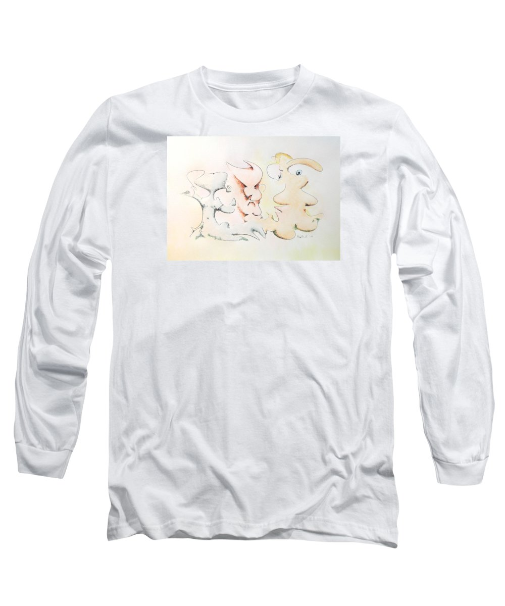 Watercolor Long Sleeve T-Shirt featuring the painting Judging Picasso by Dave Martsolf