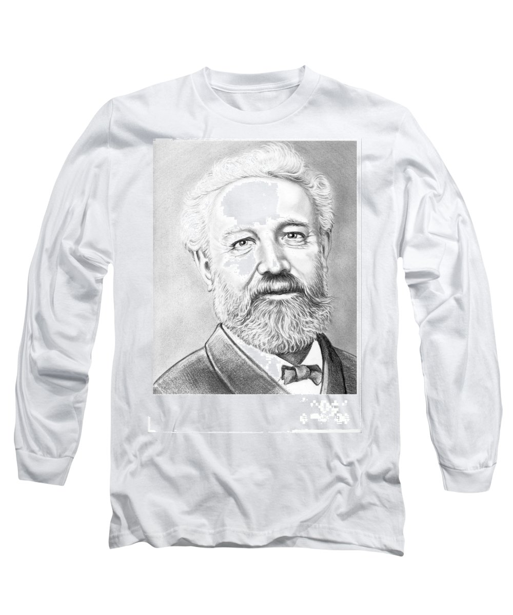 Jules Verne Long Sleeve T-Shirt featuring the drawing Jules Verne by Murphy Elliott