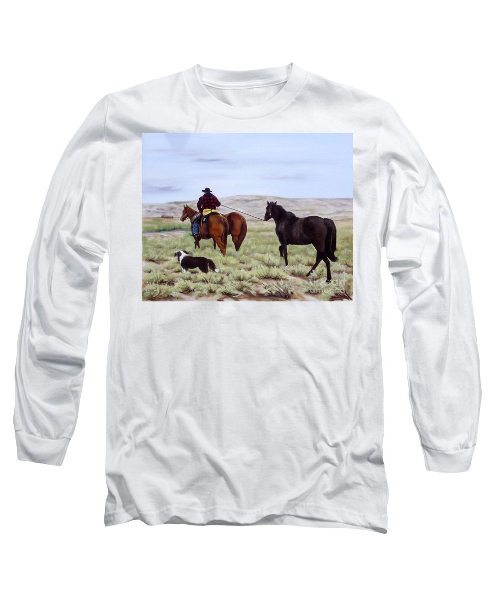 Art Long Sleeve T-Shirt featuring the painting Just Might Rain by Mary Rogers