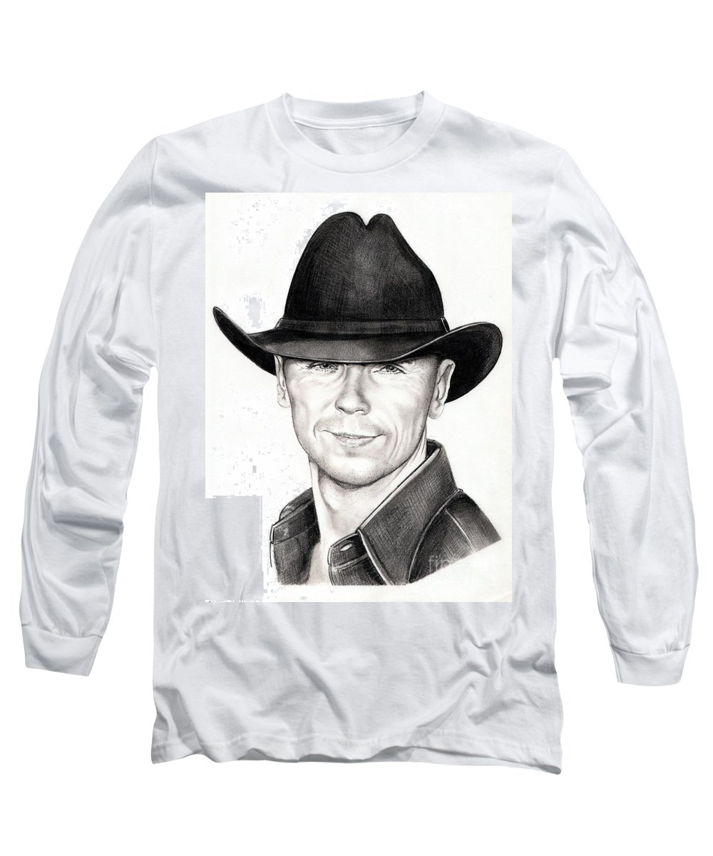 Portrait Long Sleeve T-Shirt featuring the drawing Kenny Chesney by Murphy Elliott