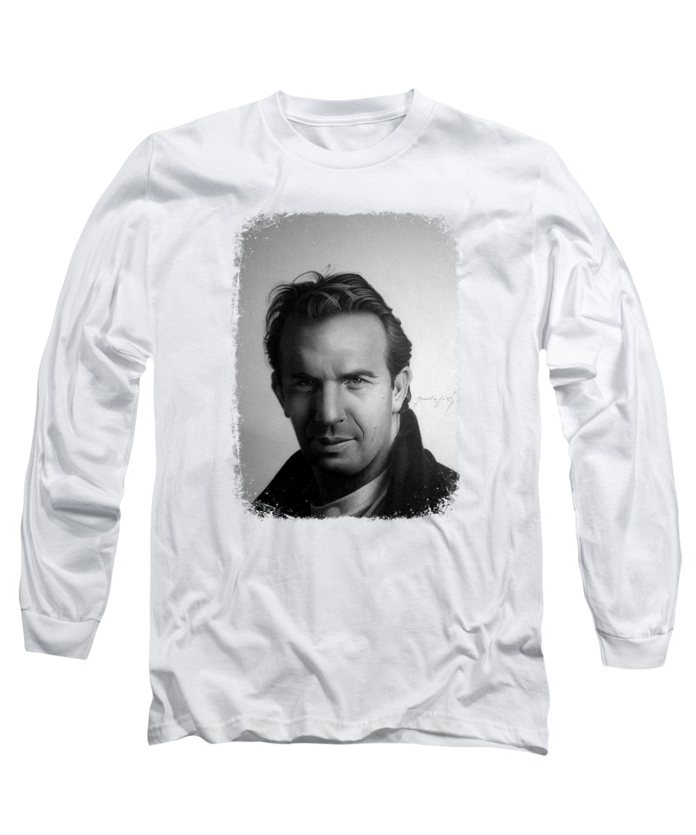 Kevin Costner Long Sleeve T-Shirt featuring the drawing Kevin Costner by Miro Gradinscak