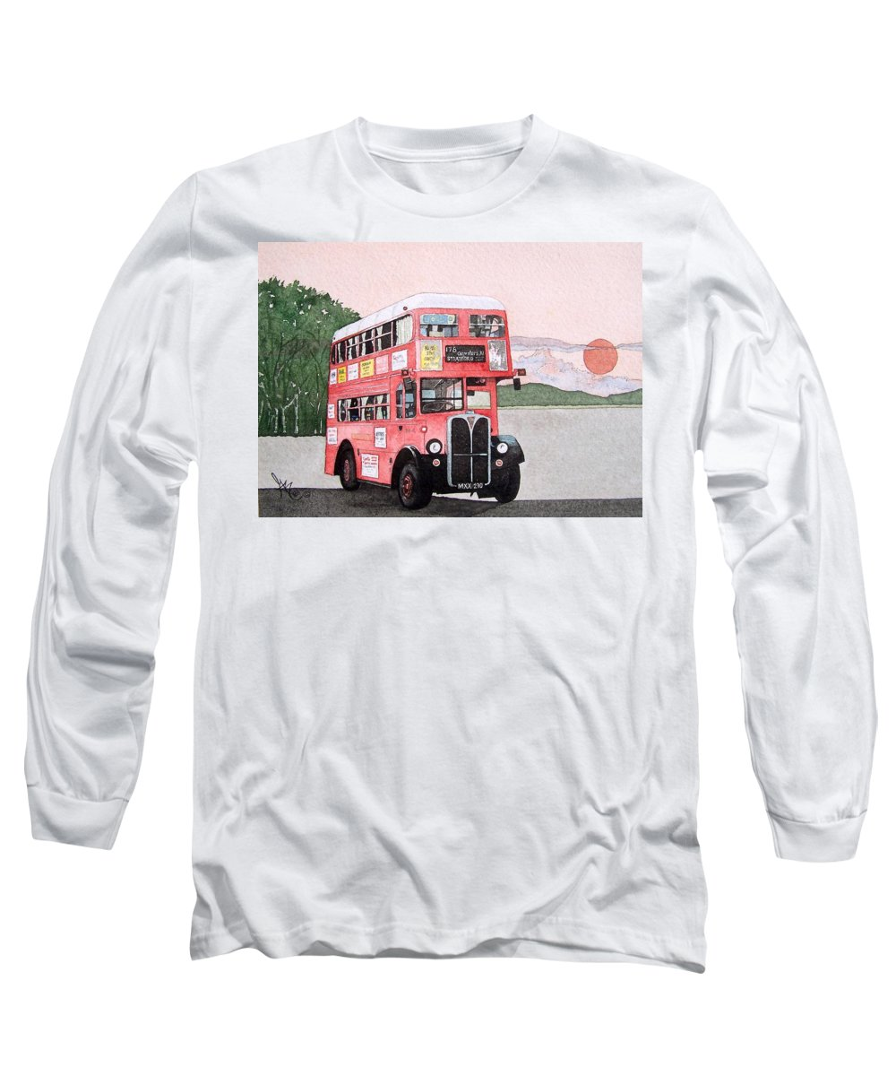 Bus Long Sleeve T-Shirt featuring the painting Kirkland Bus by Gale Cochran-Smith