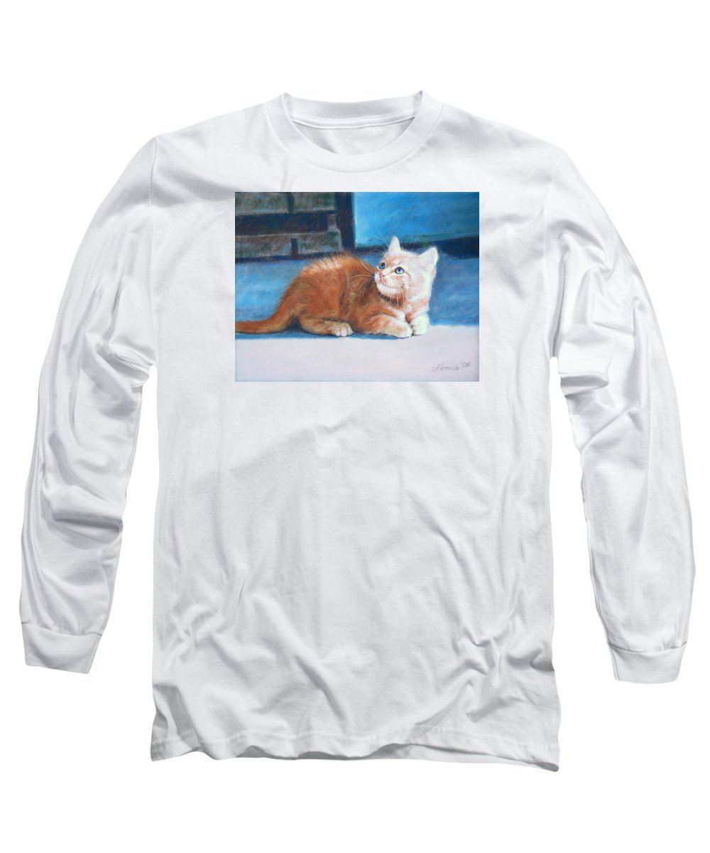Cats Long Sleeve T-Shirt featuring the pastel Kitten by Iliyan Bozhanov