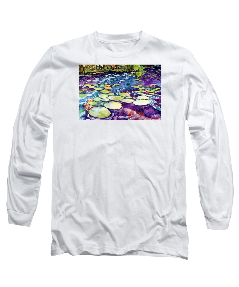 Watercolor Long Sleeve T-Shirt featuring the painting Koi Pond by Mick Williams