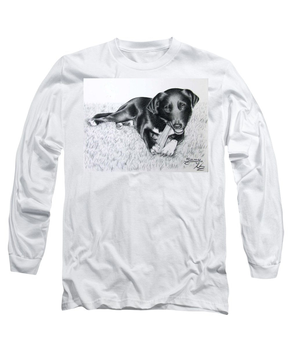 Dog Long Sleeve T-Shirt featuring the drawing Labrador Samy by Nicole Zeug