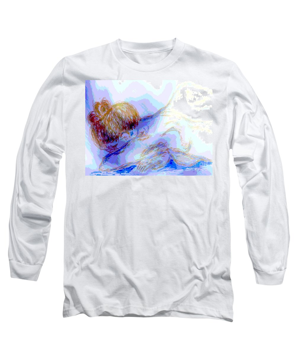 Lady Long Sleeve T-Shirt featuring the digital art Lady Crying by Shelley Jones