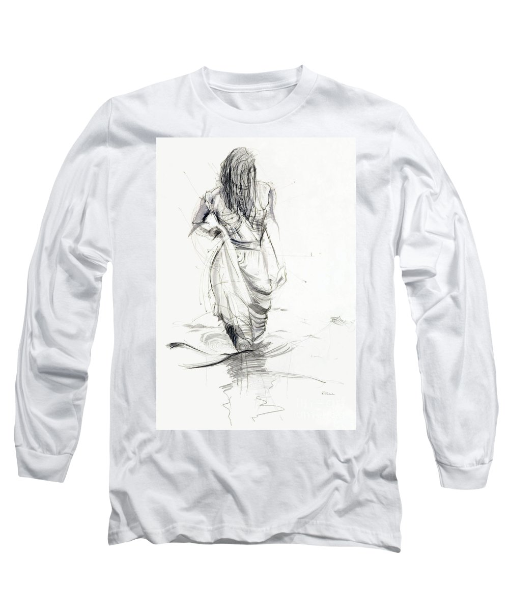 Woman Long Sleeve T-Shirt featuring the drawing Lady In The Waters by Kerryn Madsen-Pietsch