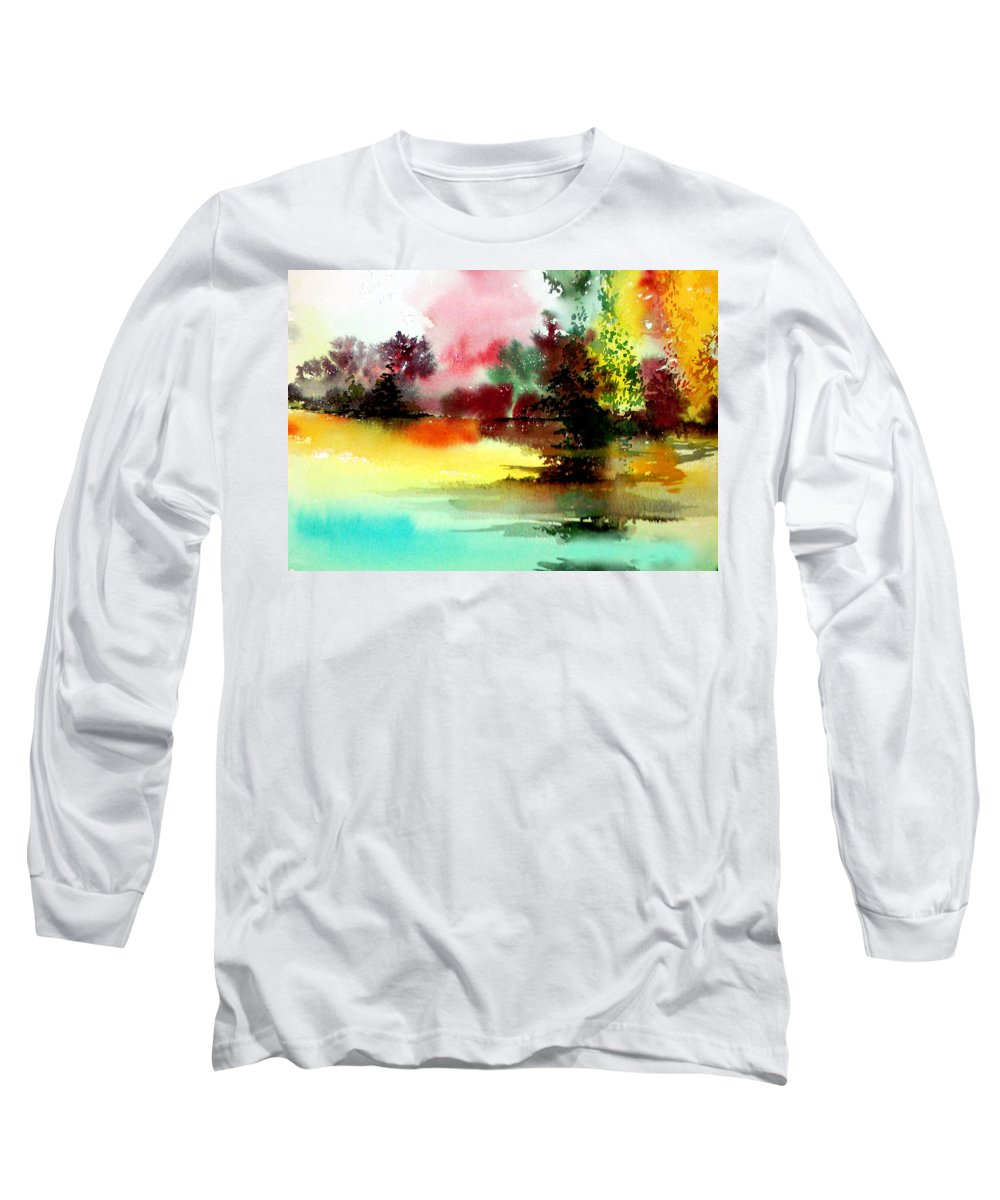Nature Long Sleeve T-Shirt featuring the painting Lake In Colours by Anil Nene
