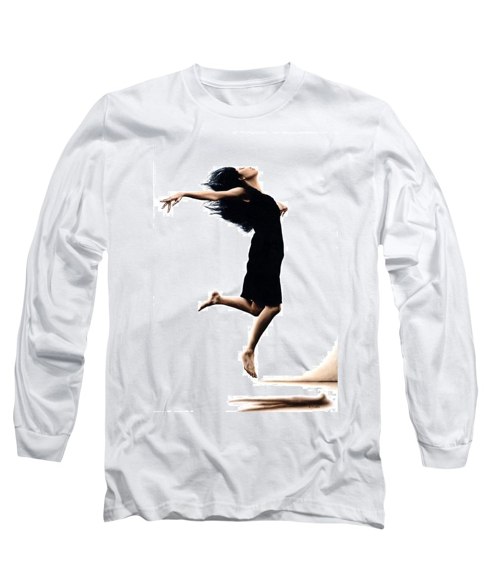 Ballet Long Sleeve T-Shirt featuring the painting Leap Into The Unknown by Richard Young