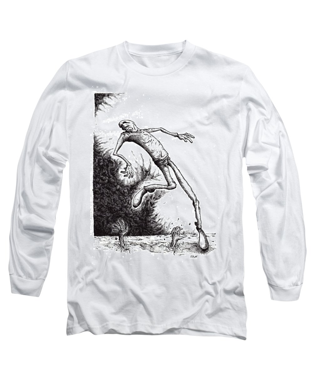 Black And White Long Sleeve T-Shirt featuring the drawing Leap by Tobey Anderson