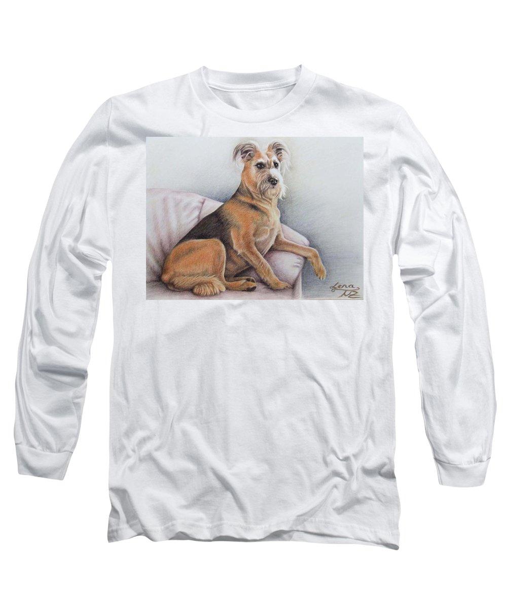 Dog Long Sleeve T-Shirt featuring the pastel Lena by Nicole Zeug