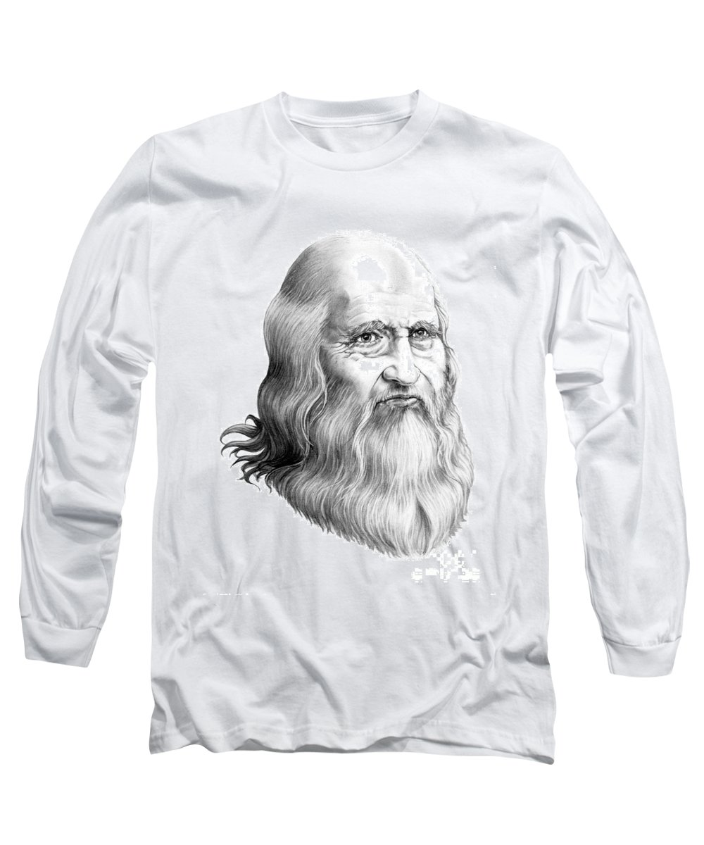 Famous Person Long Sleeve T-Shirt featuring the drawing Leonardo Da Vinci by Murphy Elliott