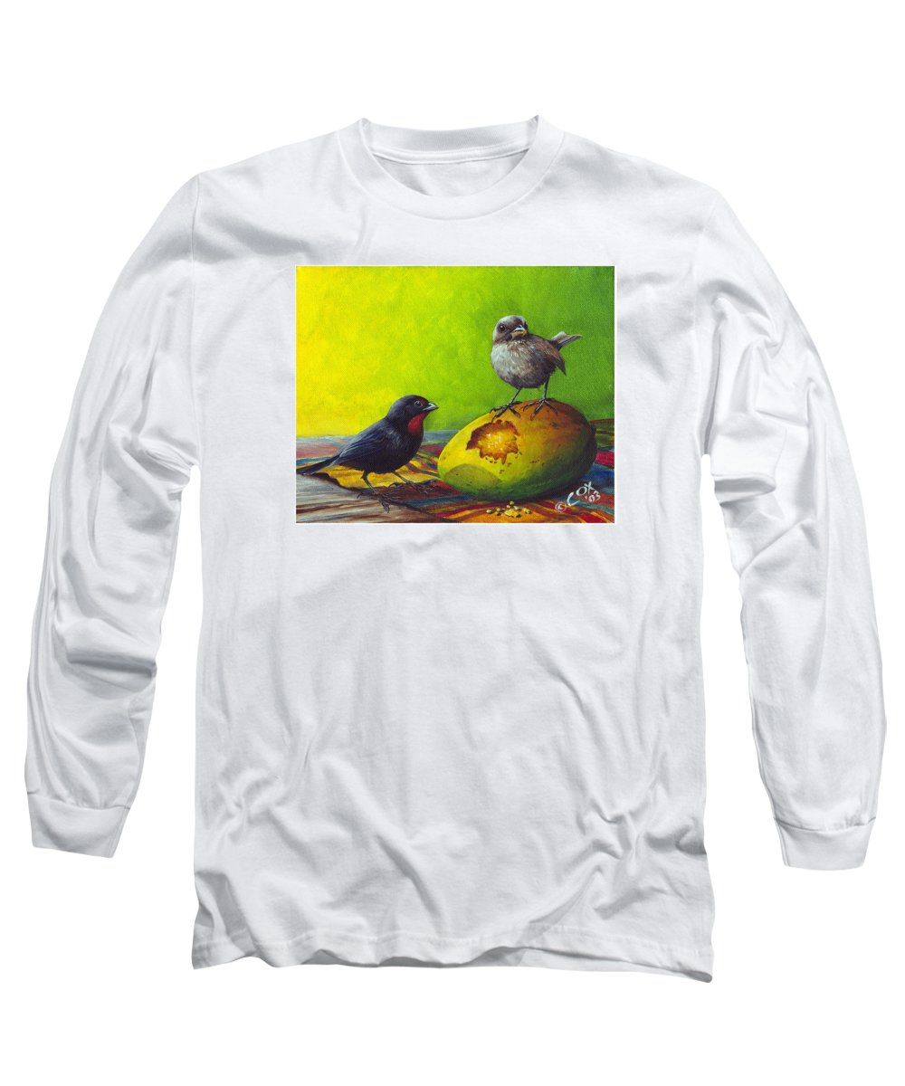 Chris Cox Long Sleeve T-Shirt featuring the painting Lesser Antillean Bullfinches And Mango by Christopher Cox
